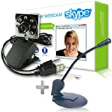Sogatel - Skype compatible 8 LED webcam with internal mic + FREE Skype microphone for Windows Vista/XP