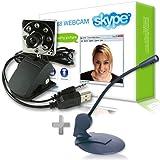 Sogatel - Skype compatible 8 LED webcam with internal mic + FREE Skype microphone for Windows Vista/XP