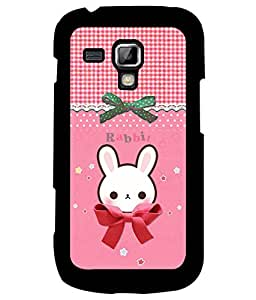 Fuson Premium Cute Rabbit Metal Printed with Hard Plastic Back Case Cover for Samsung Galaxy S Duos 2 S7582
