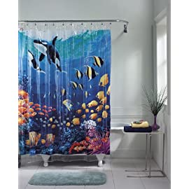 everydayhomeoutlet Ocean Blue Tropical Fish Vinyl Shower Curtain