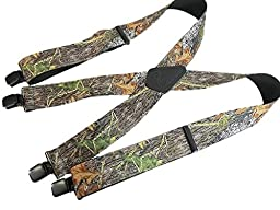 Breakup Camo Pattern 2'' Wide Hold-Up® Suspenders X-Back Patented No-slip® Clips