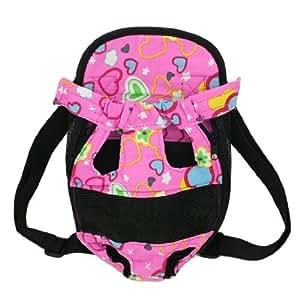 Black Pink Heart Pattern Dog Pet Travel Backpack Carry Bag Tote M