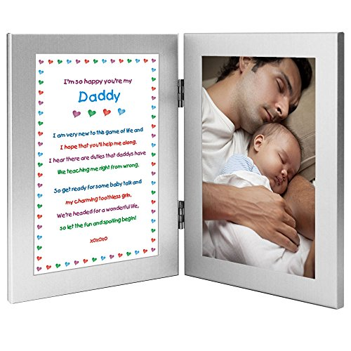 Daddy Gift From Newborn - New Dad Sweet Poem in Double Frame - Add Photo