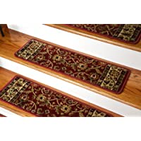 Dean Non-Slip Tape Free Pet Friendly Stair Gripper Carpet Stair Treads - Classic Keshan Claret Red 31