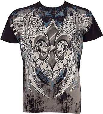 RoyaltyFleur745 Royalty Fleur de Lys En relief argent métallique Manches courtes Col rond Coton T-Shirt Fashion homme - Noir / Petit