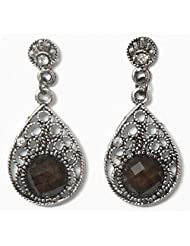 DollsofIndia Pair Of Stone Studded Oxidised Metal Dangle Earrings - Metal - Silver Color