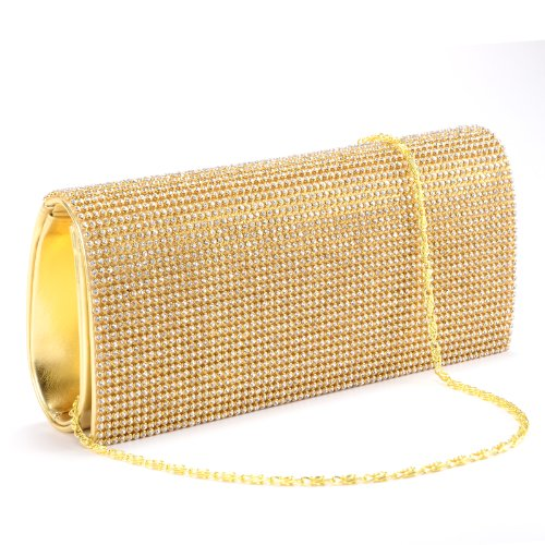 New gloden CRYSTAL DIAMANTES EVENING CLUTCH WEDDING BAG (Gold bag w/ golden chain)