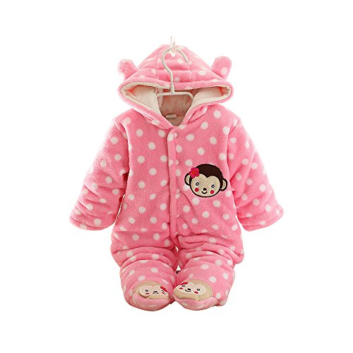 Moleya Unisex-baby Infant Toddler Cotton Long Sleeve Hoody Footie Jumpsuit Romper - Front Button (3M (0-3 months), Pink)