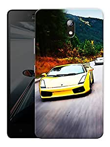 "Yellow Sports Car Printed Designer Mobile Back Cover For ""Lenovo Vibe P1m"" By Humor Gang (3D, Matte Finish, Premium Quality, Protective Snap On Slim Hard Phone Case, Multi Color)"