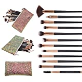 Professional Makeup Brushes Set with Case, Travel Cosmetic bags with Brushes, Eye Makeup Brushes Set with Case, Gift for Women by WAVALP (Black)