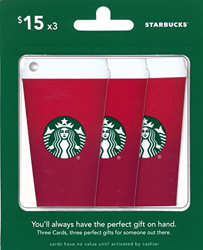 Starbucks Gift Cards Red Cup, Multipack of 3 - $15 (Amazon Starbucks compare prices)