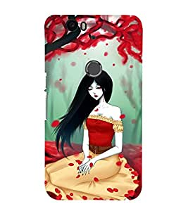 Fuson Premium Back Case Cover Cute girl in red With blue Background Degined For Huawei Google Nexus 6P