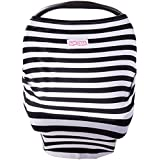 Stretchy Multi-use Baby Car Seat Canopy, Nursing Cover, Shopping Cart Cover - Big Stripes Stripes