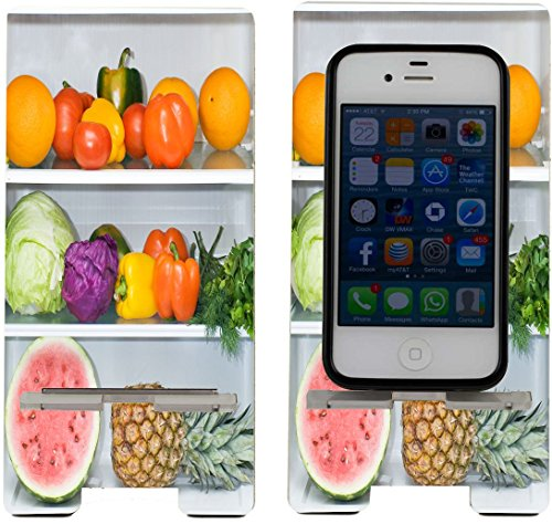 Rikki KnightTM Refridgerator Fridge with Fruit and Veg Design - Smart Cell Phone Holder Charger Stand for iPhone 4/4s/5/5s/5c, Galaxy S3/S4/Ace 2, LG Optimus Gpro/G2/L3/4X HD, Sony Xperia Z1S/U, HTC Droid/One/One X/Pro/mini, Blackberry G10/Z10, Nexus 4/5 (Smart Refridgerator compare prices)