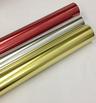 The Christmas Cottage STORE 6M Metallic Christmas Gift Wrapping Paper Silver, Red, Gold