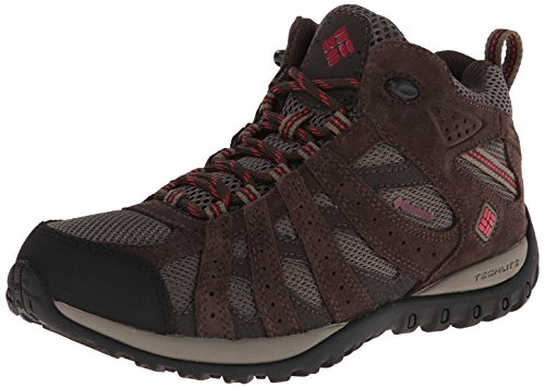 Columbia Women's Redmond Mid Waterproof Trail Shoe, Mud/Red Orchid
