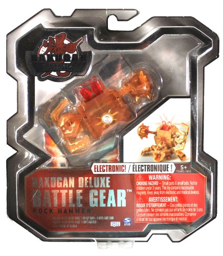 Spin Master Year 2010 Bakugan Gundalian Invaders Deluxe Electronic Battle Gear Set - Double Blasters with Big Axe and Iron Ball ROCK HAMMER (Silver) with 1 Ability Card and 1 Metal Gate Card - 1