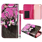 Pink Camo Deer Realtree Leather Wallet Flip ID Pouch Apple Iphon 4, 4S at&t. Verizon, Sprint, C Spire Case Cover Hard Phone case Snap-on Cover Rubberized Touch Faceplates