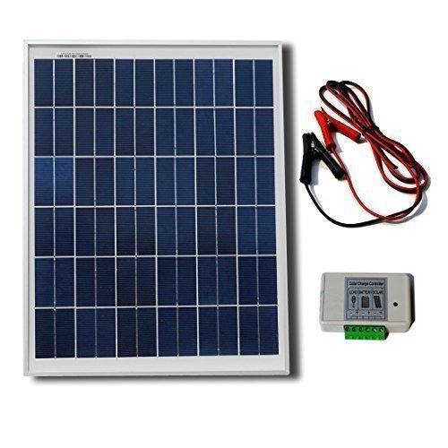 ECO-WORTHY 20W 12V Solar System Kit : 20 Watt Polycrystalline Solar Panel & Battery Clips & 3A Charge Controller (12 Volt Battery Solar Charger compare prices)