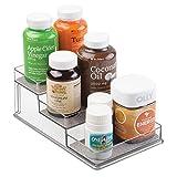 Rangement mDesign pour boites de vitamines, compléments alimentaires et autres - 3 compartiments, Métallique / Transparent...