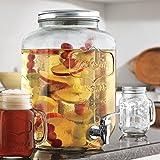 Family Glass Mason Jar Glass Beverage Drink Dispenser with Metal Lid (1 Gallon)