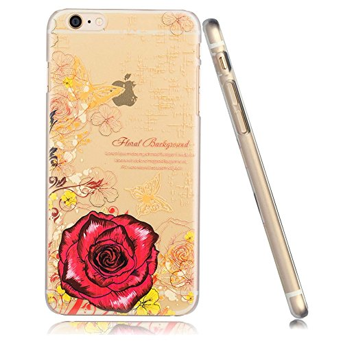 3Cworld iPhone 5/5s Case Clear Back Cover with Design [5S Hard Plastic] - Retail Packaging - 15Patterns (rose-red)