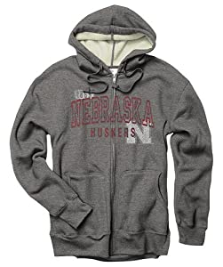 Nebraska Cornhuskers Heather Grey Adult Hooded Jacket Thermal Sherpa Zip by New Agenda