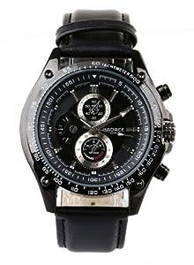 High Quality Men's Black Dial Japanese Quartz Movement Leather Strap Watch