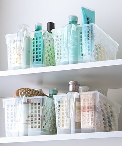 Pantry Organizer Large Clear Basket with Handle - Space Saving Home, Kitchen, Office, Garage Storage Bin with Handle for Easy Pull Clean Solution