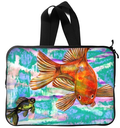 Goldfish 15 inch Handle Laptop Netbook Notebook Slipcase Sleeve Soft Case Cover 15'' (Twin Sidess)