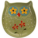 Stoneware Owl Plate - Green