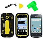 Heavy Duty Hybrid Phone Cover Case Cell Phone Accessory + Extreme Band + Stylus Pen + LCD Screen Protector + Yellow Pry Tool For Straight Talk Net10 Huawei Ascend Y M866 H866C / Huawei Ascend Y 201 U8666 (Black/Yellow)