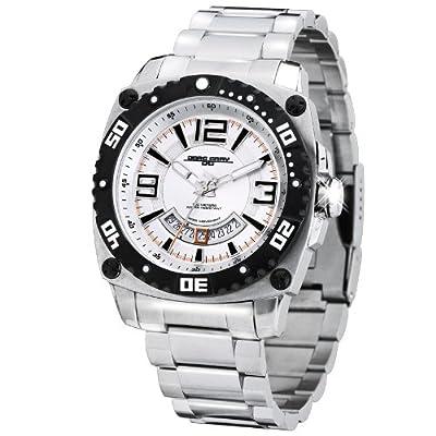 Jorg Gray JG9800-22 - Men's Swiss 3 Hands Watch, Date Display, Sapphire Crystal, Stainless Steel Bracelet