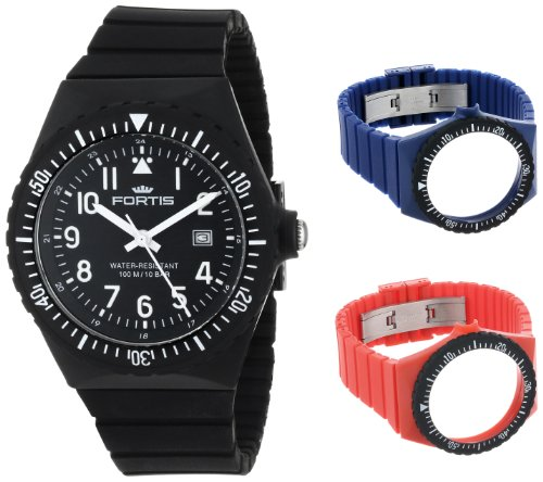 Fortis Colors C 704.01/05/03 Black Silicone Pop-Out Watch Set with additional Navy and Red Strap