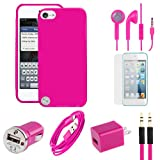 IPod Touch 5 Pink Flexible Gel Skin TPU Case, USB Car And Home Charger Adapter, Data Cable, Auxiliary Cable, Stereo Headset & Screen Protector (7pc Value Combo Bundle Kit)