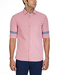 Celio Men's Cotton Casual Shirt (3596653435995_BAMIXING_X-Large_Red)