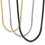 Stainless Steel Necklace, HERACULS 3.5MM Mens Womens Curb Link Chain 3Pcs Set Gold Silve Black 16-30 Inch