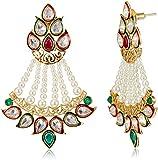 Aheli Brass Drop Earrings for Women (White) (A4E11)