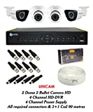 Unicam Analog CCTV Combo - 2 Dome Cameras +2 Bullet Cameras+ 1 DVR with Mouse & Remote+ 4 CHANNEL POWER SUPPLY + 90 METRES 3+1 WIRE COIL + All Required Connectors