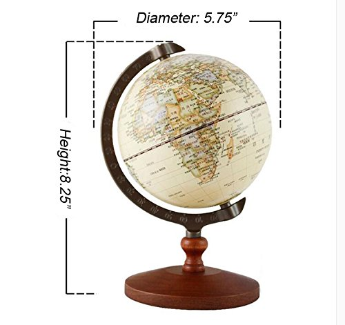 KiaoTime Vintage World Globe Antique Decorative Desktop Globe Rotating Earth Geography Globe Wooden Base Educational Globe Wedding GIFT 8.25