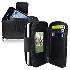 Insten® Wallet Leather Case w/ Credit Card Holder & Clip Compatible with Apple® iPhone® 4 / 4S