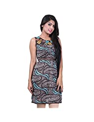 India Colors Browm Printed Cotton Kurti