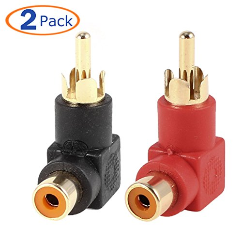 Conwork 2-Pack RCA Male to Female 90 Degree Right Angle Plug Adapters M/F Gold-Plated Connector (Low Profile Aux Cable compare prices)
