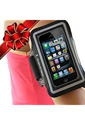 Best iPhone 5 Armband for Running, Double Thickness Neoprene - Extra Moisture Block, Sporty Exercise Case for Gym, Walking, Jogging, Crossfit, Weightlifting-Slim Fit, BLACK with Reflective Stripe
