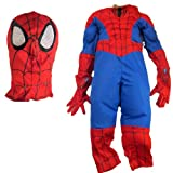 Disney Store Deluxe Spider-man Costume w/ Padded Chest & Arms, Mask & Gloves