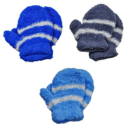 RSG Baby Mittens Soft Fuzzy & Warm 3-Pack (Blue/Royal/Grey)