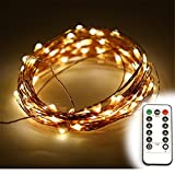Yoland Indoor and Outdoor 16.4Ft 50LED Warm White Fairy Starry String Lights On Ultrathin Copper Wire Line + Remote Control Dimmer - 3*AA Battery-Operated (not included)