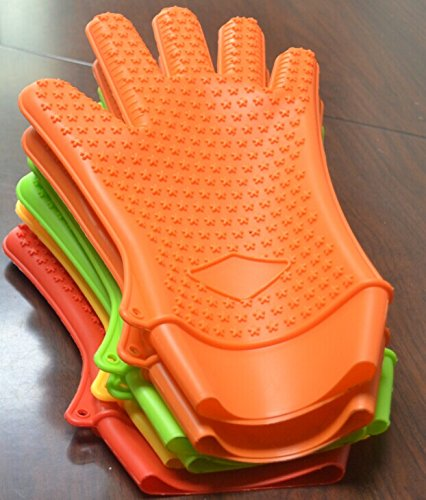 New Multifunction Best Premium 100% Fda Approved Heat Resistant Silicone Gloves (Large, Orange)