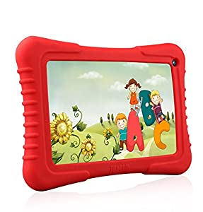"Dragon Touch 7"" Quad Core Android Kids Tablet, IPS Display, with Wifi and Camera and Games, HD Kids Edition w/ Zoodles Pre-Installed (2015 Model, M7 with Red Silicone Case)"