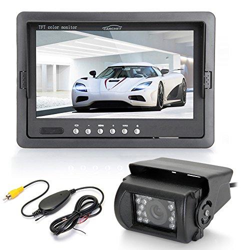 Funk-Rckfahrkamera-18-IR-LED-Kamera-7-TFT-LCD-Monitor-KFZ-Sender-Empfnger